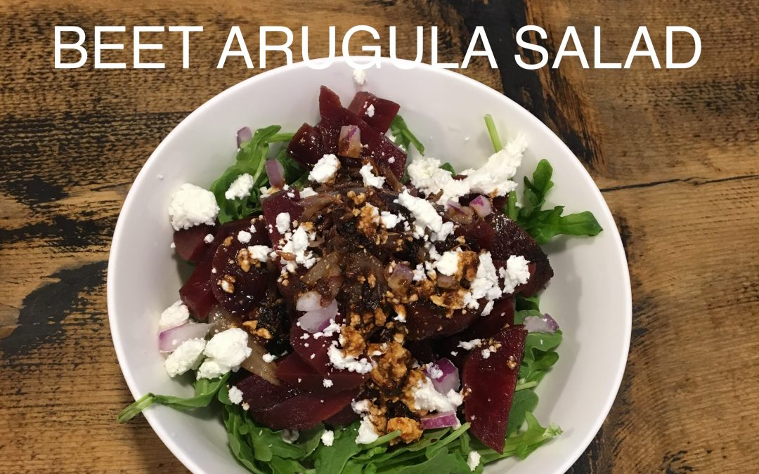 Beet and Arugula Salad with Caramelized Shallots